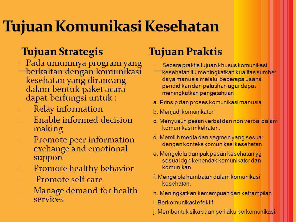Tujuan Strategis Pada umumnya program yang berkaitan dengan komunikasi kesehatan yang dirancang dalam bentuk paket acara dapat berfungsi untuk : a.