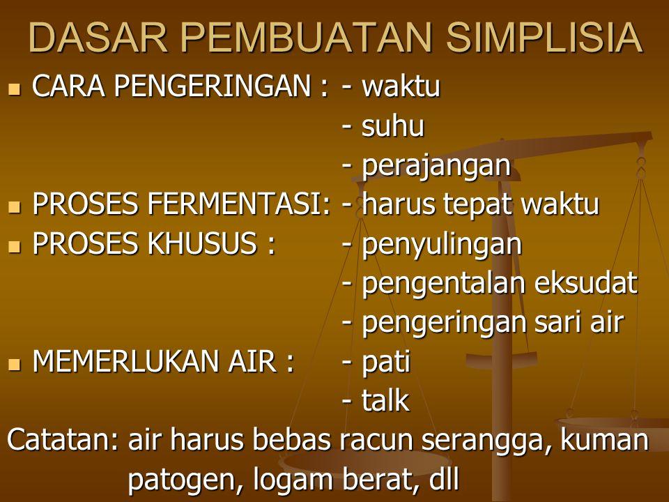 TAHAPAN PENYIAPAN SIMPLISIA 1.PENGUMPULAN BAHAN BAKU (PANEN) 1.