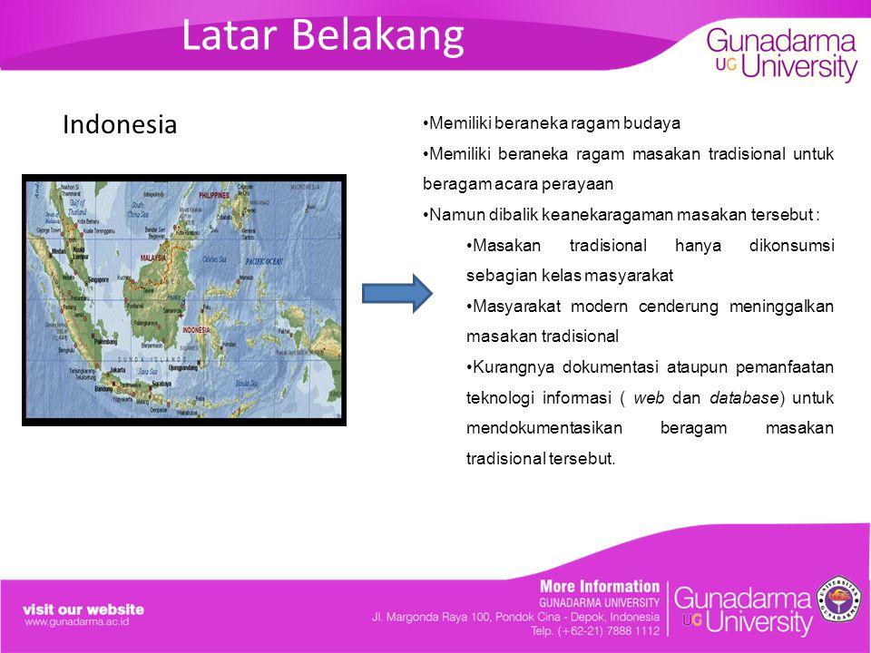 Batasan Masalah Hanya menampilkan resep-resep masakan tradisional Indonesia berdasarkan daerah provinsi asalnya dan hanya dibatasi pada enam belas provinsi yang terkenal.