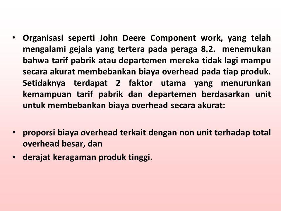 Organisasi seperti John Deere Component work, yang telah mengalami gejala yang tertera pada peraga 8.2. menemukan bahwa tarif pabrik atau departemen m