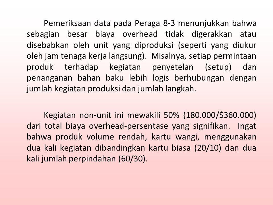 Pemeriksaan data pada Peraga 8-3 menunjukkan bahwa sebagian besar biaya overhead tidak digerakkan atau disebabkan oleh unit yang diproduksi (seperti y