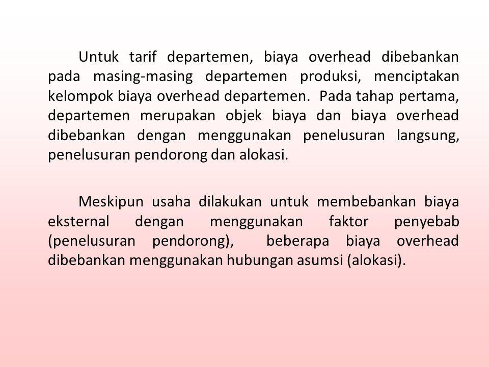 Sekali biaya dibebankan pada tiap departemen produksi, pendorong berdasarkan kegiatan seperti jam tenaga kerja langsung (untuk departemen padat tenaga kerja) dan jam mesin (untuk departemen padat mesin) digunakan untuk menghitung tarif departemen.