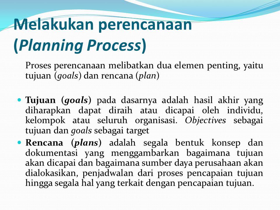 Melakukan perencanaan (Planning Process) Proses perencanaan melibatkan dua elemen penting, yaitu tujuan (goals) dan rencana (plan) Tujuan (goals) pada dasarnya adalah hasil akhir yang diharapkan dapat diraih atau dicapai oleh individu, kelompok atau seluruh organisasi.