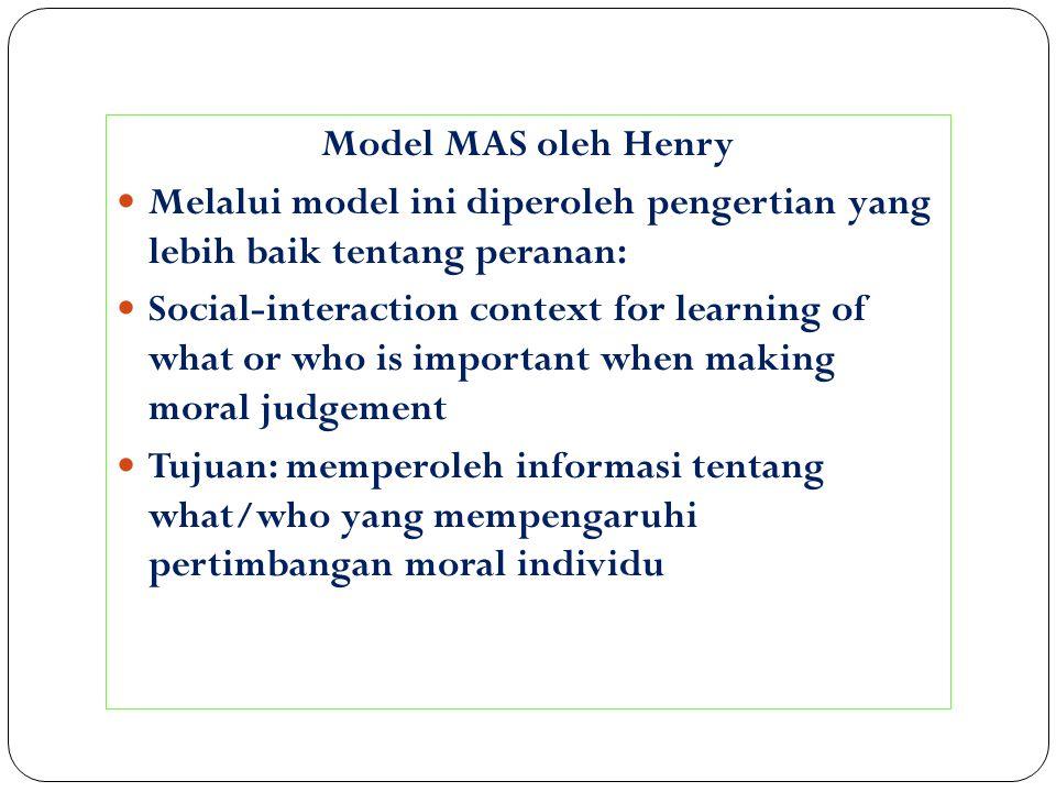Model MAS oleh Henry Melalui model ini diperoleh pengertian yang lebih baik tentang peranan: Social-interaction context for learning of what or who is