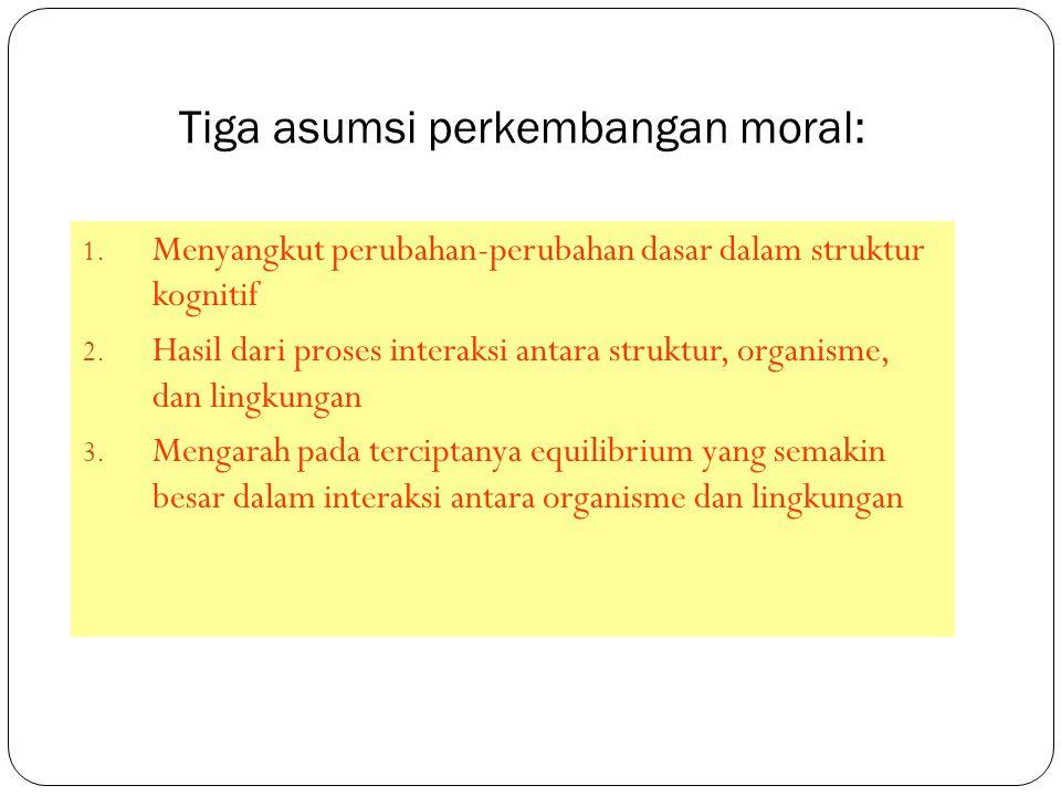 Tiga asumsi perkembangan moral: 1. Menyangkut perubahan-perubahan dasar dalam struktur kognitif 2. Hasil dari proses interaksi antara struktur, organi