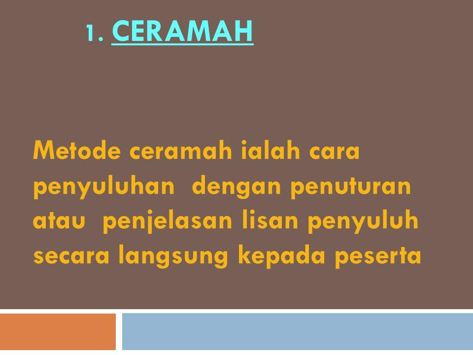 1. CERAMAH Metode ceramah ialah cara penyuluhan dengan penuturan atau penjelasan lisan penyuluh secara langsung kepada peserta