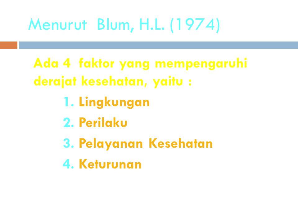 Menurut Blum, H.L. (1974) Ada 4 faktor yang mempengaruhi derajat kesehatan, yaitu : 1. Lingkungan 2. Perilaku 3. Pelayanan Kesehatan 4. Keturunan