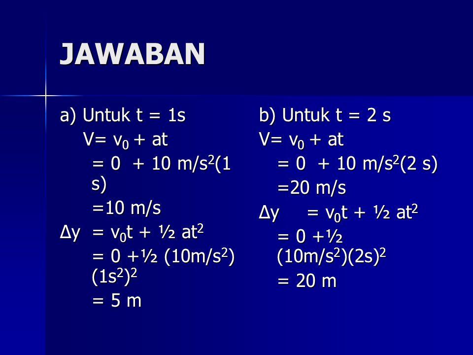 JAWABAN a) Untuk t = 1s V= v 0 + at V= v 0 + at = 0 + 10 m/s 2 (1 s) =10 m/s ∆y= v 0 t + ½ at 2 = 0 +½ (10m/s 2 ) (1s 2 ) 2 = 5 m b) Untuk t = 2 s V=
