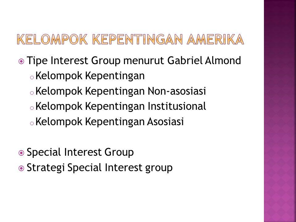  Tipe Interest Group menurut Gabriel Almond o Kelompok Kepentingan o Kelompok Kepentingan Non-asosiasi o Kelompok Kepentingan Institusional o Kelompok Kepentingan Asosiasi  Special Interest Group  Strategi Special Interest group