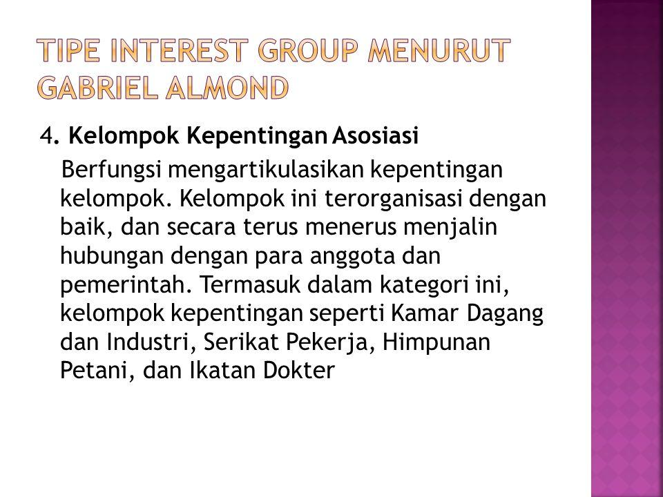 4. Kelompok Kepentingan Asosiasi Berfungsi mengartikulasikan kepentingan kelompok.