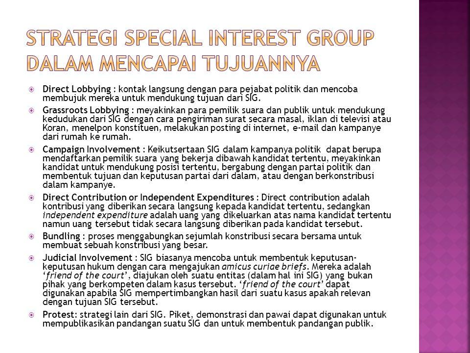  Direct Lobbying : kontak langsung dengan para pejabat politik dan mencoba membujuk mereka untuk mendukung tujuan dari SIG.