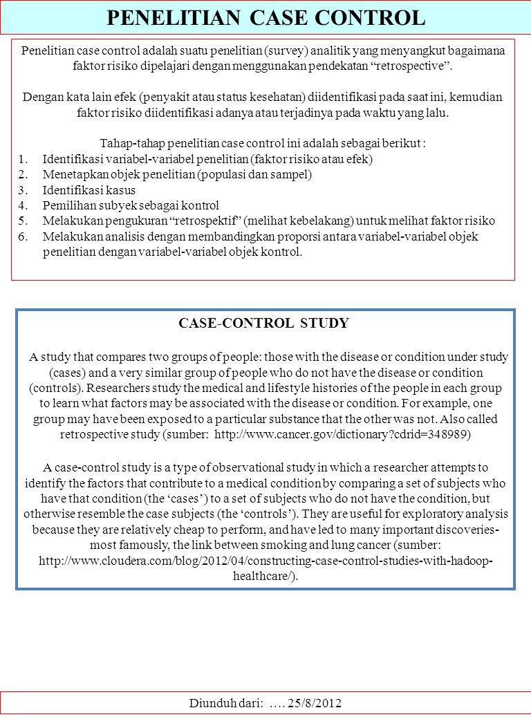 PENELITIAN CASE CONTROL Diunduh dari: …. 25/8/2012 Penelitian case control adalah suatu penelitian (survey) analitik yang menyangkut bagaimana faktor