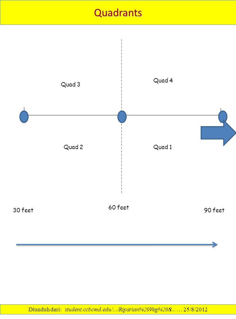Quadrants 60 feet Quad 4 Quad 1Quad 2 Quad 3 30 feet 90 feet Diunduh dari: student.ccbcmd.edu/.../Riparian%20Veg%20S... … 25/8/2012
