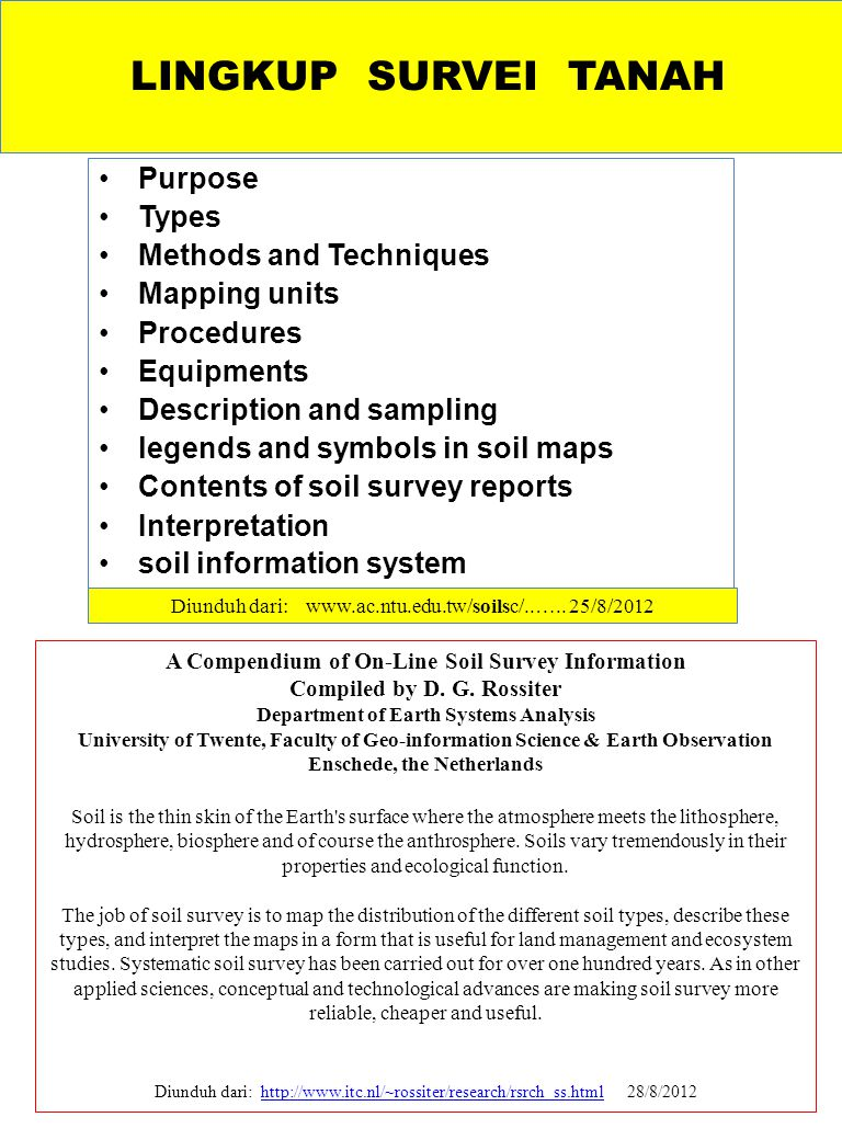 LINGKUP SURVEI TANAH Purpose Types Methods and Techniques Mapping units Procedures Equipments Description and sampling legends and symbols in soil map