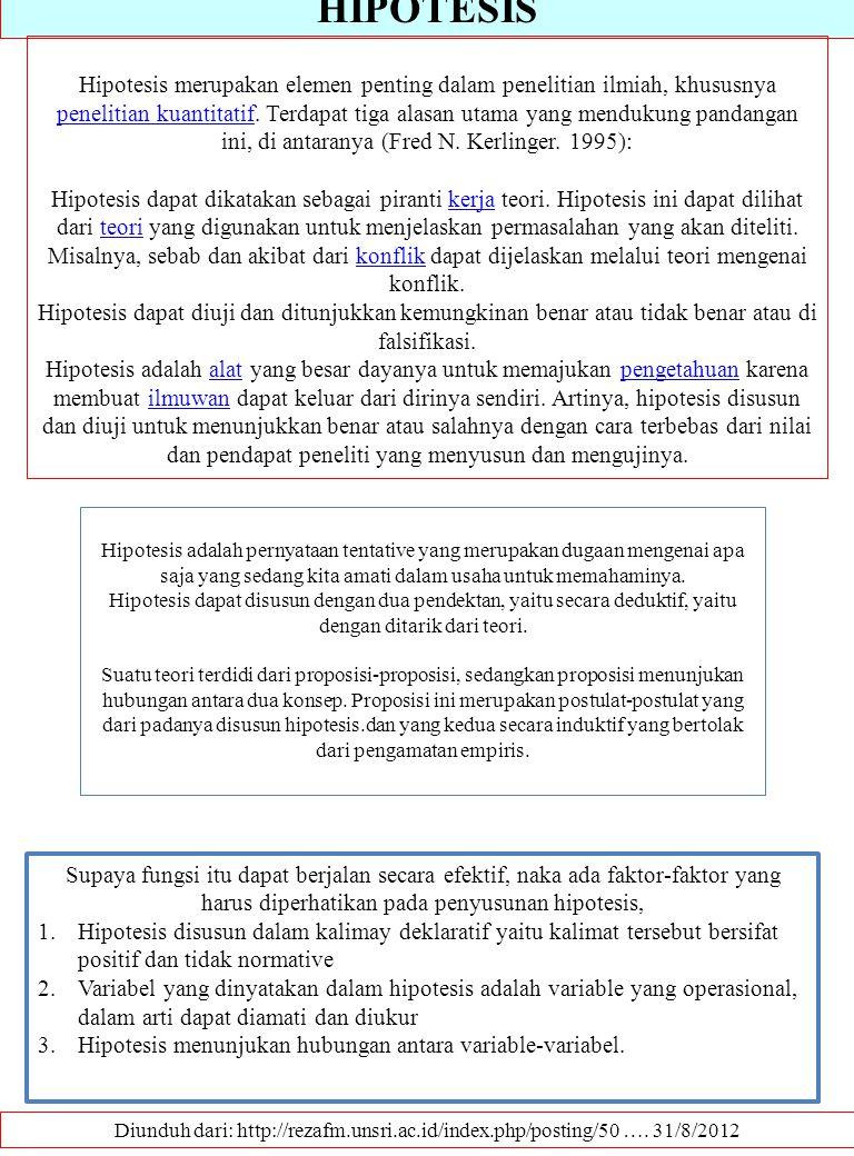 HIPOTESIS Diunduh dari: http://rezafm.unsri.ac.id/index.php/posting/50 …. 31/8/2012 Hipotesis merupakan elemen penting dalam penelitian ilmiah, khusus