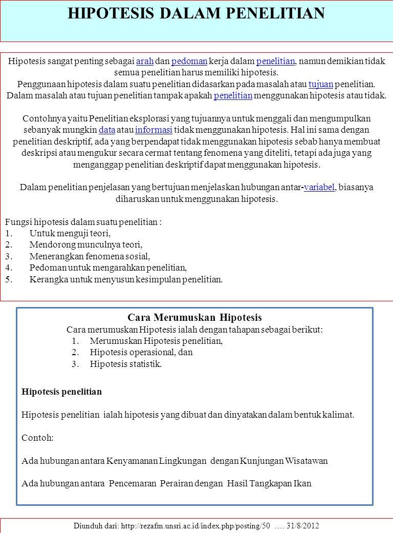 HIPOTESIS DALAM PENELITIAN Diunduh dari: http://rezafm.unsri.ac.id/index.php/posting/50 …. 31/8/2012 Hipotesis sangat penting sebagai arah dan pedoman