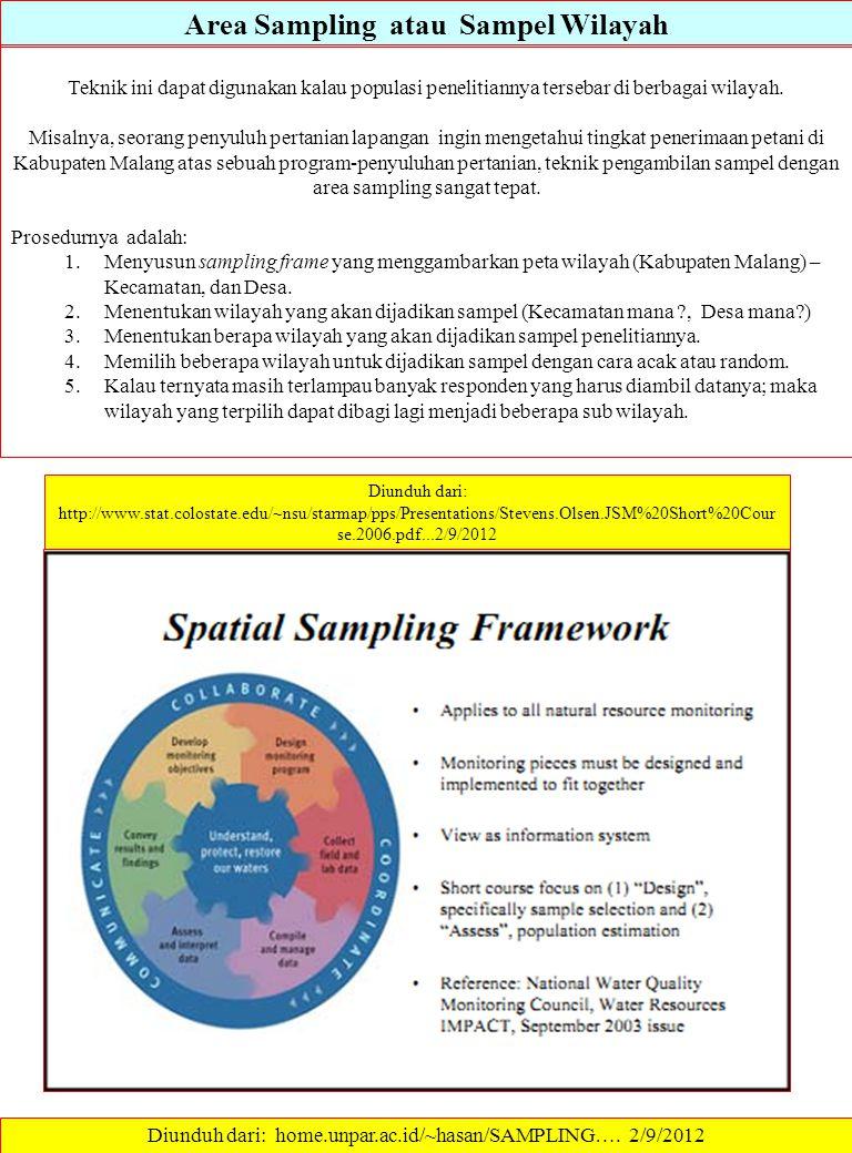Area Sampling atau Sampel Wilayah Teknik ini dapat digunakan kalau populasi penelitiannya tersebar di berbagai wilayah. Misalnya, seorang penyuluh per