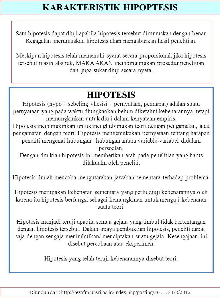 KARAKTERISTIK HIPOPTESIS Diunduh dari: http://rezafm.unsri.ac.id/index.php/posting/50 …. 31/8/2012 Satu hipotesis dapat diuji apabila hipotesis terseb