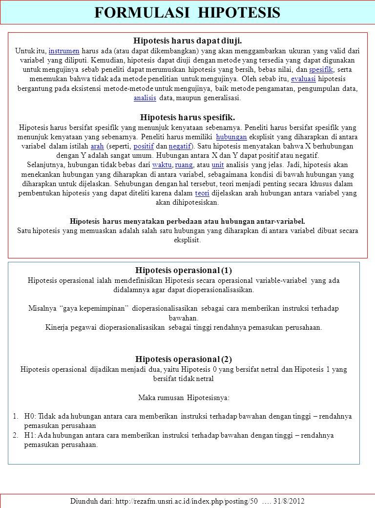 FORMULASI HIPOTESIS Diunduh dari: http://rezafm.unsri.ac.id/index.php/posting/50 …. 31/8/2012 Hipotesis harus dapat diuji. Untuk itu, instrumen harus