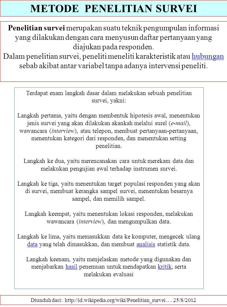 METODE PENELITIAN SURVEI Diunduh dari: http://id.wikipedia.org/wiki/Penelitian_survei…. 25/8/2012 Penelitian survei merupakan suatu teknik pengumpulan