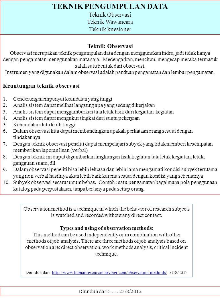 TEKNIK PENGUMPULAN DATA Teknik Observasi Teknik Wawancara Teknik kuesioner Diunduh dari: …. 25/8/2012 Teknik Observasi Observasi merupakan teknik peng