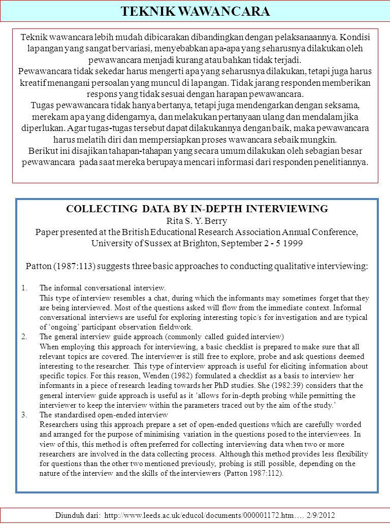 TEKNIK WAWANCARA Diunduh dari: http://www.leeds.ac.uk/educol/documents/000001172.htm…. 2/9/2012 Teknik wawancara lebih mudah dibicarakan dibandingkan