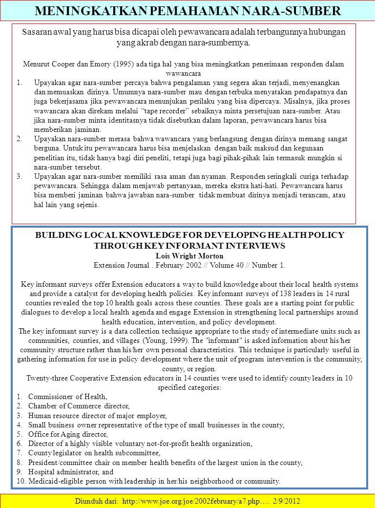 MENINGKATKAN PEMAHAMAN NARA-SUMBER Diunduh dari: http://www.joe.org/joe/2002february/a7.php…. 2/9/2012 Sasaran awal yang harus bisa dicapai oleh pewaw