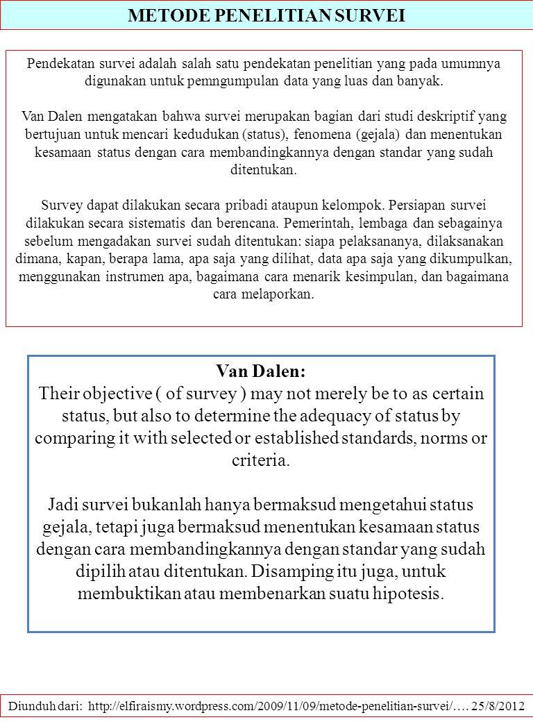 METODE PENELITIAN SURVEI Diunduh dari: http://elfiraismy.wordpress.com/2009/11/09/metode-penelitian-survei/…. 25/8/2012 Pendekatan survei adalah salah