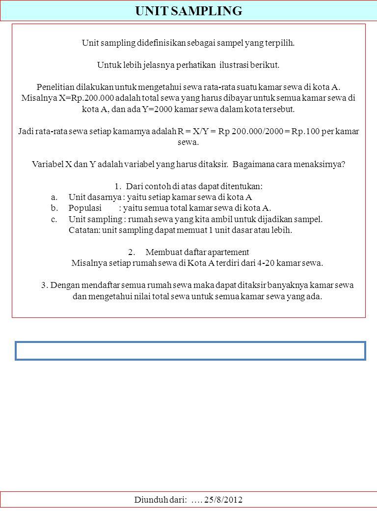 UNIT SAMPLING Diunduh dari: …. 25/8/2012 Unit sampling didefinisikan sebagai sampel yang terpilih. Untuk lebih jelasnya perhatikan ilustrasi berikut.