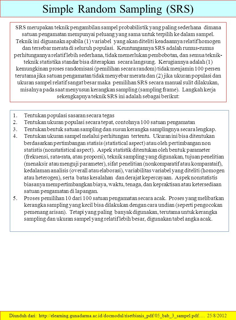 Simple Random Sampling (SRS) Diunduh dari: http://elearning.gunadarma.ac.id/docmodul/risetbisnis_pdf/05_bab_3_sampel.pdf….