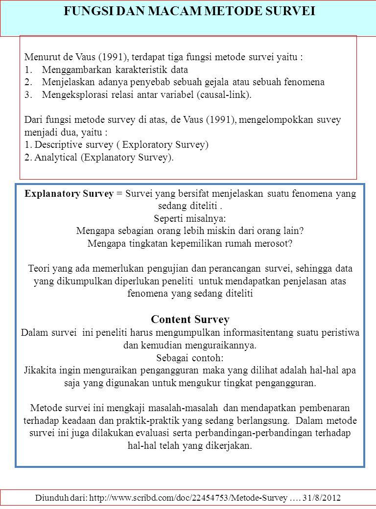 FUNGSI DAN MACAM METODE SURVEI Diunduh dari: http://www.scribd.com/doc/22454753/Metode-Survey …. 31/8/2012 Menurut de Vaus (1991), terdapat tiga fungs