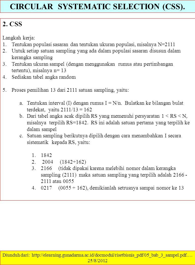 CIRCULAR SYSTEMATIC SELECTION (CSS). 2. CSS Langkah kerja: 1.Tentukan populasi sasaran dan tentukan ukuran populasi, misalnya N=2111 2.Untuk setiap sa