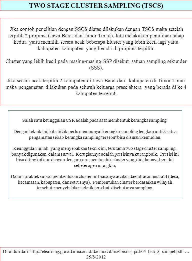 TWO STAGE CLUSTER SAMPLING (TSCS) Diunduh dari: http://elearning.gunadarma.ac.id/docmodul/risetbisnis_pdf/05_bab_3_sampel.pdf …. 25/8/2012 Jika contoh