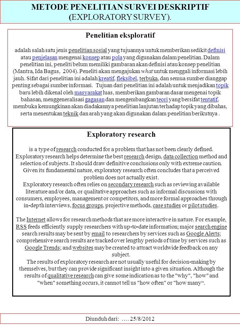 METODE PENELITIAN SURVEI DESKRIPTIF (EXPLORATORY SURVEY). Diunduh dari: …. 25/8/2012 Penelitian eksploratif adalah salah satu jenis penelitian sosial