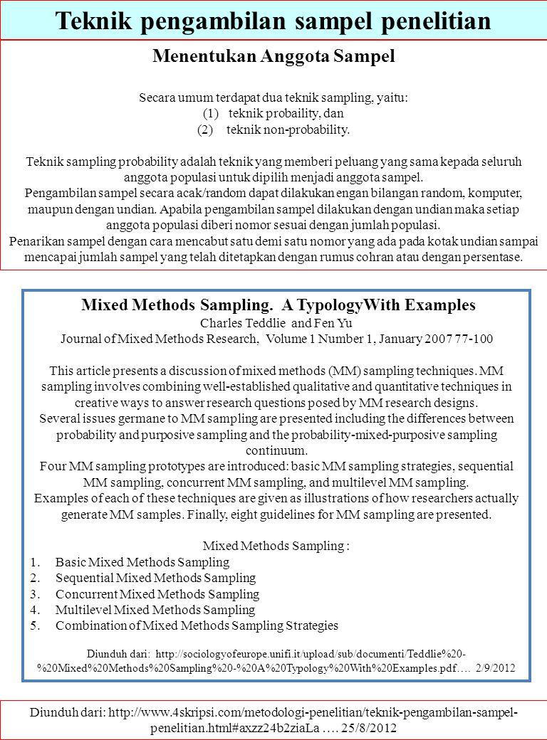 Teknik pengambilan sampel penelitian Diunduh dari: http://www.4skripsi.com/metodologi-penelitian/teknik-pengambilan-sampel- penelitian.html#axzz24b2zi