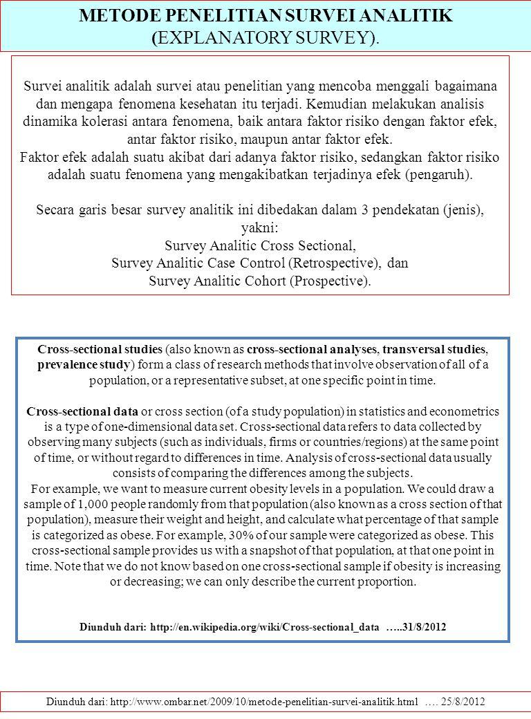 METODE PENELITIAN SURVEI ANALITIK (EXPLANATORY SURVEY). Diunduh dari: http://www.ombar.net/2009/10/metode-penelitian-survei-analitik.html …. 25/8/2012