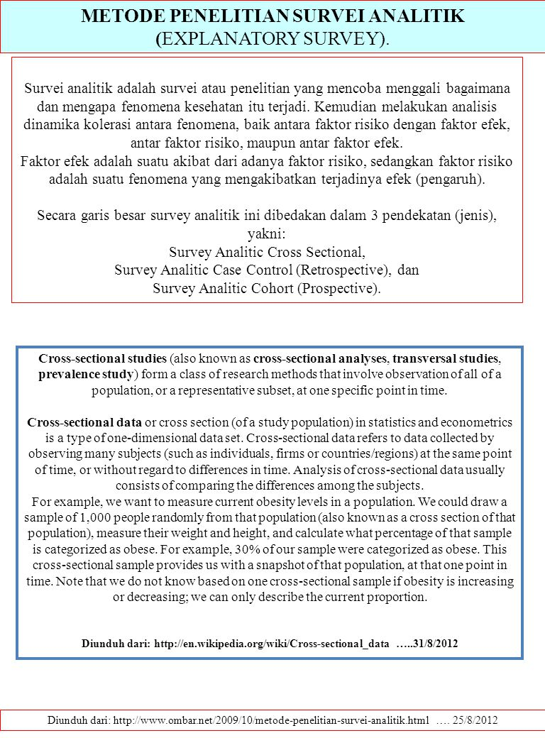 METODE PENELITIAN SURVEI ANALITIK (EXPLANATORY SURVEY).