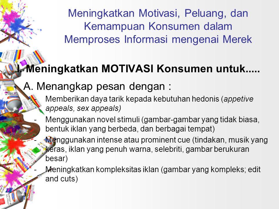 Meningkatkan Motivasi, Peluang, dan Kemampuan Konsumen dalam Memproses Informasi mengenai Merek I.