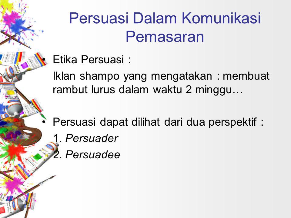Perangkat untuk mempengaruhi : Perspektif Persuader 1.Reciprocation Komunikator pemasaran memberikan hadiah atau contoh produk dengan harapan pelanggan akan membalas (reciprocate) dengan membeli produk tersebut.