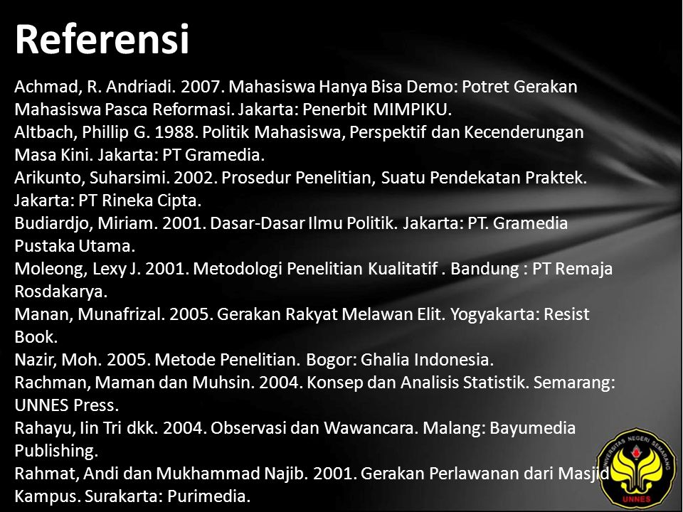 Referensi Achmad, R. Andriadi. 2007.
