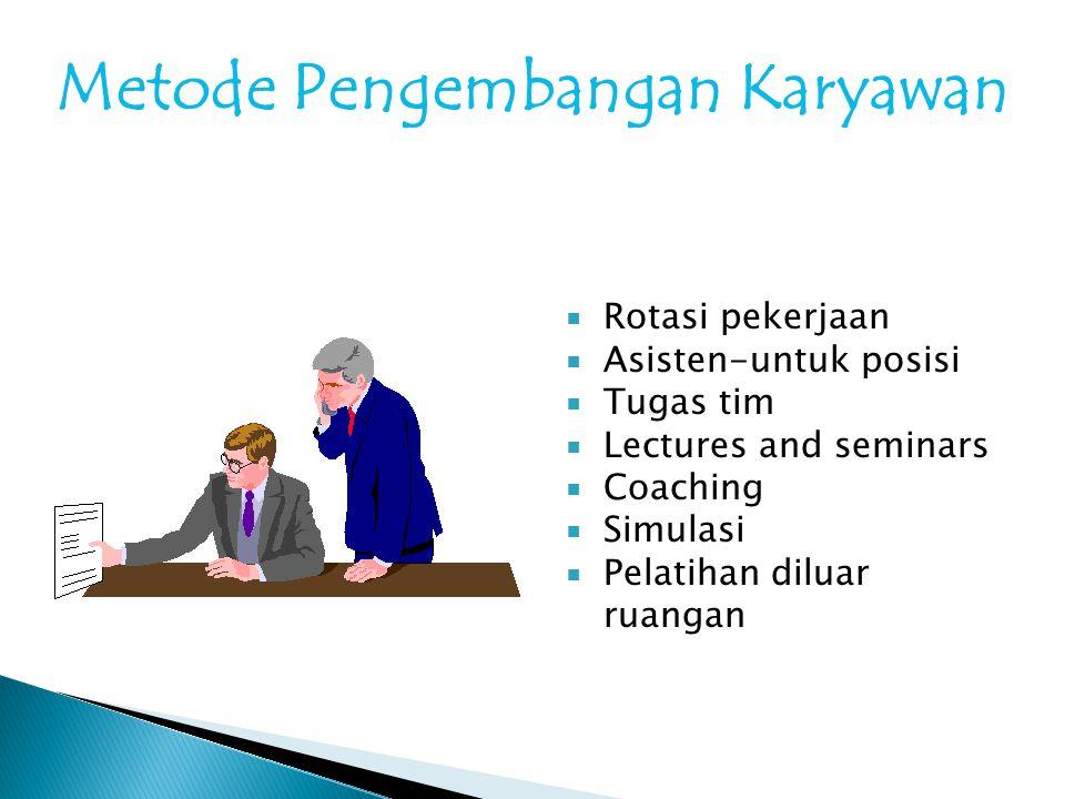 Metode Pengembangan Karyawan  Rotasi pekerjaan  Asisten-untuk posisi  Tugas tim  Lectures and seminars  Coaching  Simulasi  Pelatihan diluar ru