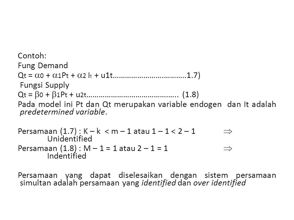 Contoh: Fung Demand Q t =  0 +  1 P t +  2 I t + u1 t …………………….………..1.7) Fungsi Supply Q t =  0 +  1 P t + u 2t ………………………………….…..