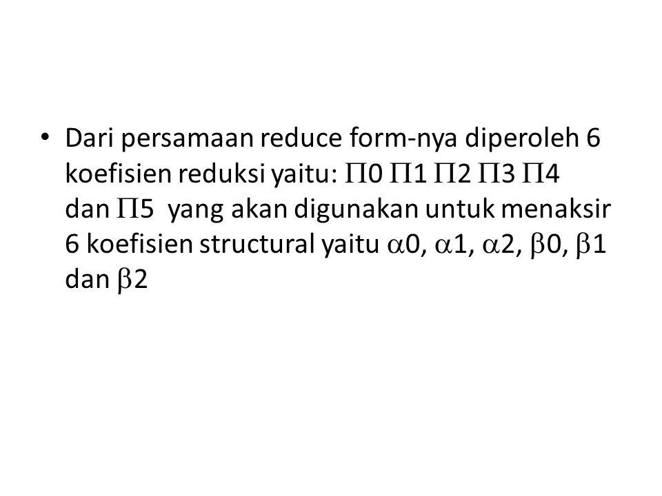 Dari persamaan reduce form-nya diperoleh 6 koefisien reduksi yaitu:  0  1  2  3  4 dan  5 yang akan digunakan untuk menaksir 6 koefisien structural yaitu  0,  1,  2,  0,  1 dan  2