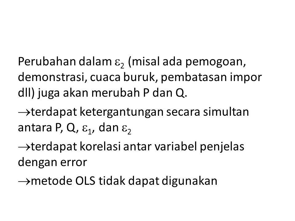 Perubahan dalam  2 (misal ada pemogoan, demonstrasi, cuaca buruk, pembatasan impor dll) juga akan merubah P dan Q.