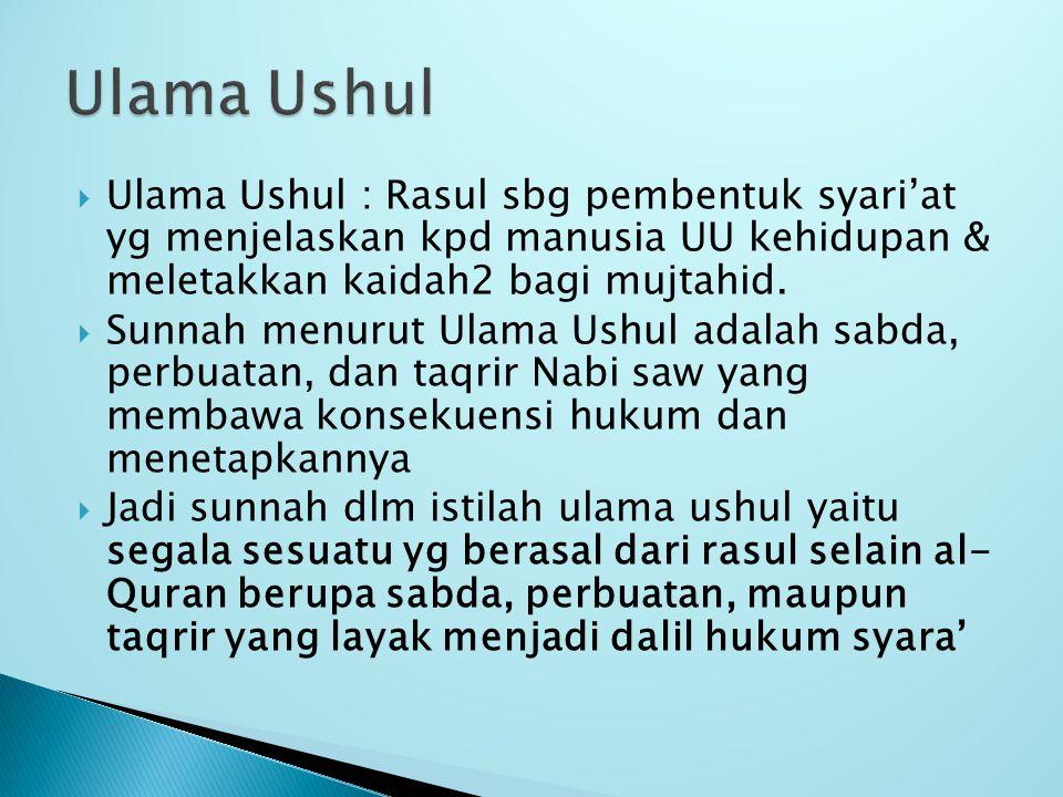  Ulama Ushul : Rasul sbg pembentuk syari'at yg menjelaskan kpd manusia UU kehidupan & meletakkan kaidah2 bagi mujtahid.  Sunnah menurut Ulama Ushul