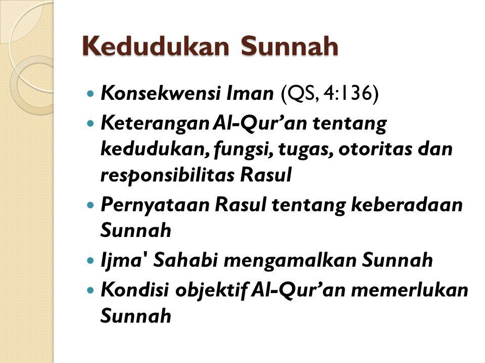 Kedudukan Sunnah Konsekwensi Iman (QS, 4:136) Keterangan Al-Qur'an tentang kedudukan, fungsi, tugas, otoritas dan responsibilitas Rasul Pernyataan Rasul tentang keberadaan Sunnah Ijma Sahabi mengamalkan Sunnah Kondisi objektif Al-Qur'an memerlukan Sunnah