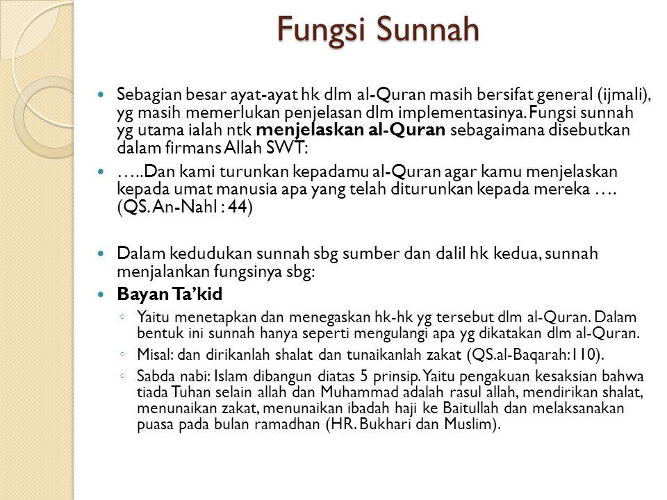 Fungsi Sunnah Sebagian besar ayat-ayat hk dlm al-Quran masih bersifat general (ijmali), yg masih memerlukan penjelasan dlm implementasinya. Fungsi sun