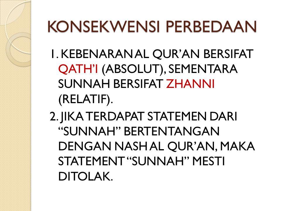 """KONSEKWENSI PERBEDAAN 1. KEBENARAN AL QUR'AN BERSIFAT QATH'I (ABSOLUT), SEMENTARA SUNNAH BERSIFAT ZHANNI (RELATIF). 2. JIKA TERDAPAT STATEMEN DARI """"SU"""