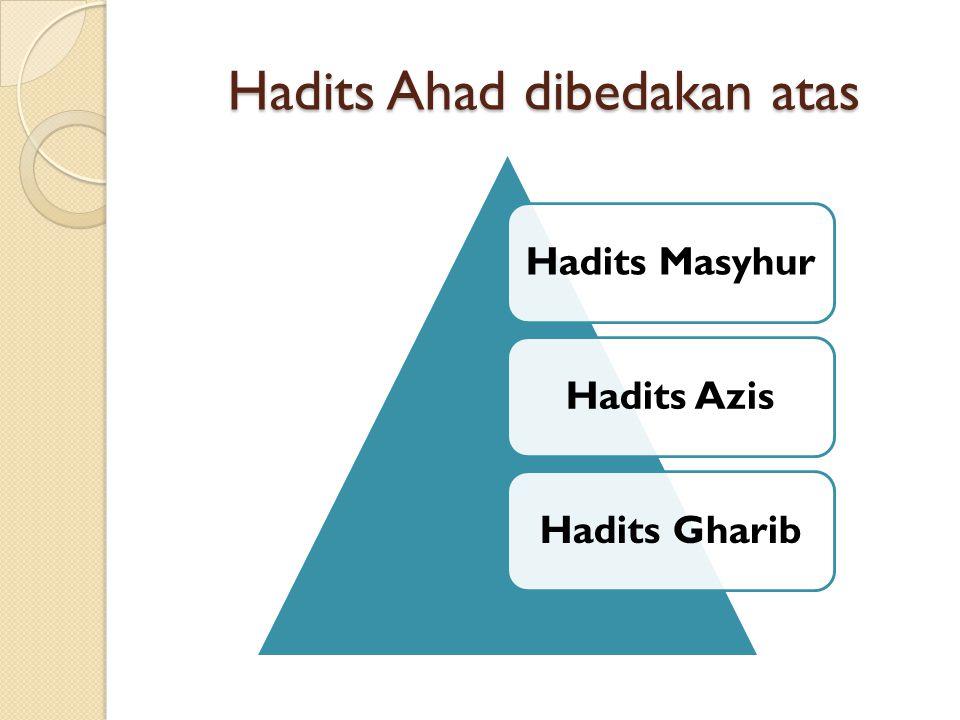 Hadits Ahad dibedakan atas Hadits MasyhurHadits AzisHadits Gharib