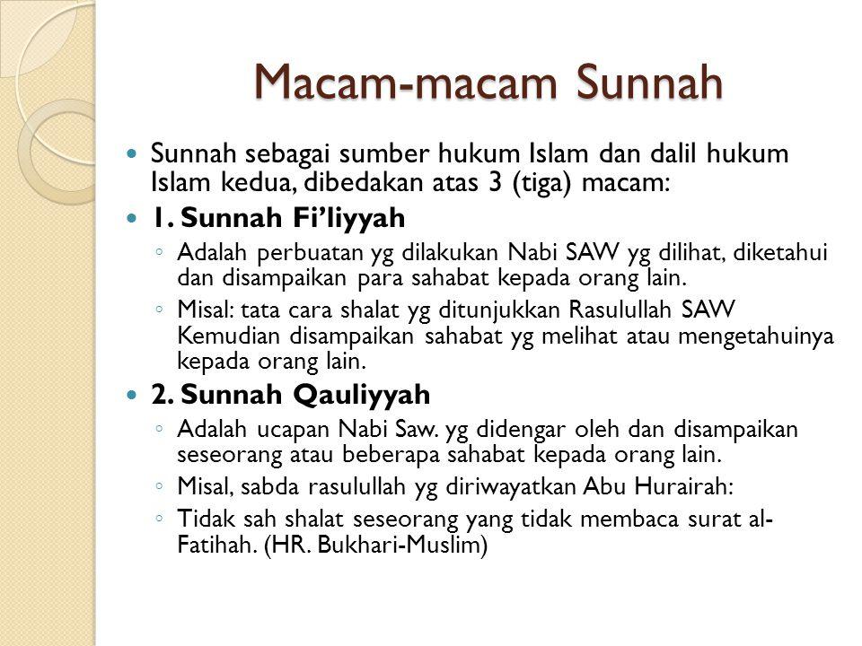 Macam-macam Sunnah Sunnah sebagai sumber hukum Islam dan dalil hukum Islam kedua, dibedakan atas 3 (tiga) macam: 1. Sunnah Fi'liyyah ◦ Adalah perbuata